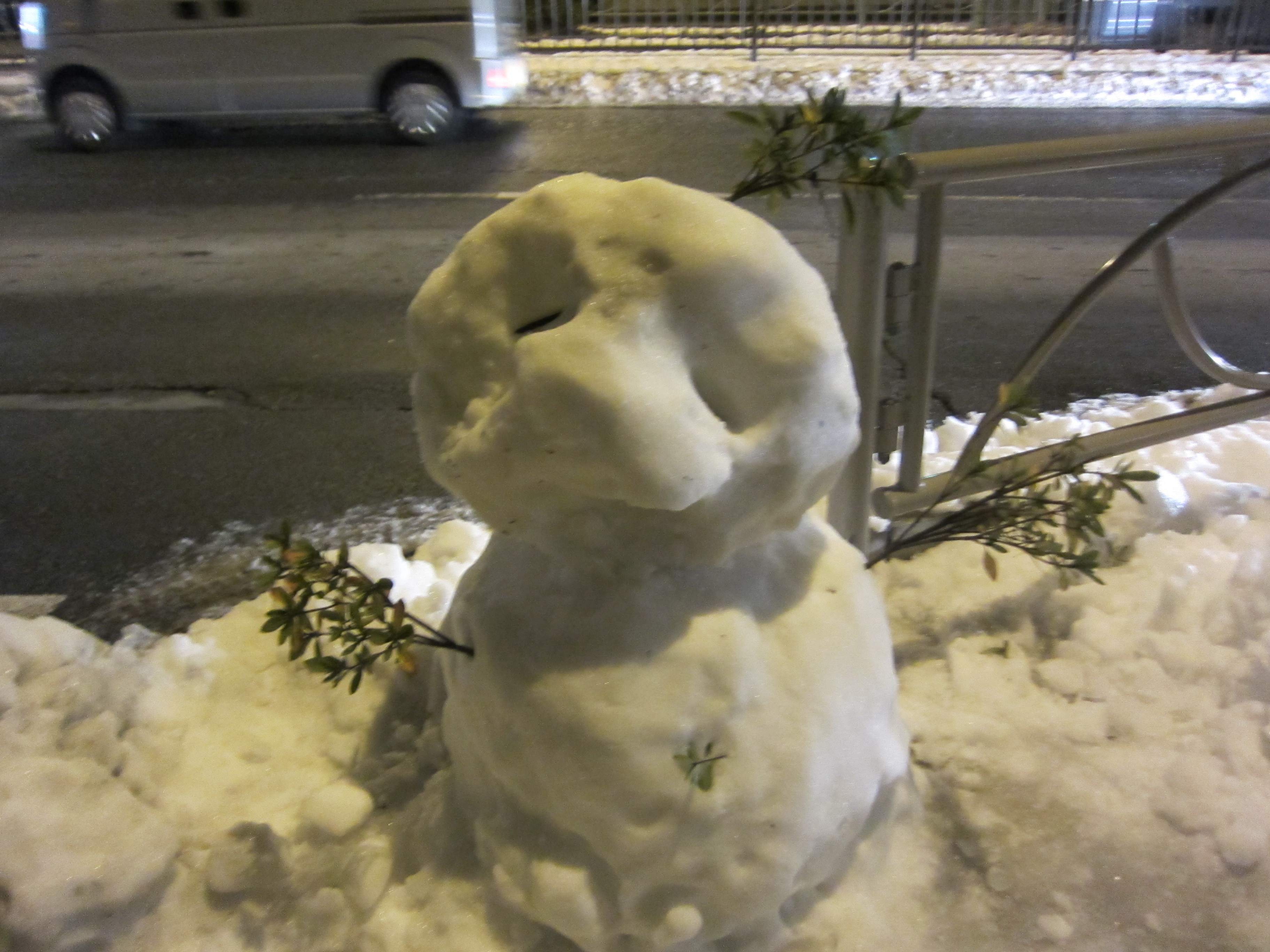 川越街道の雪だるま